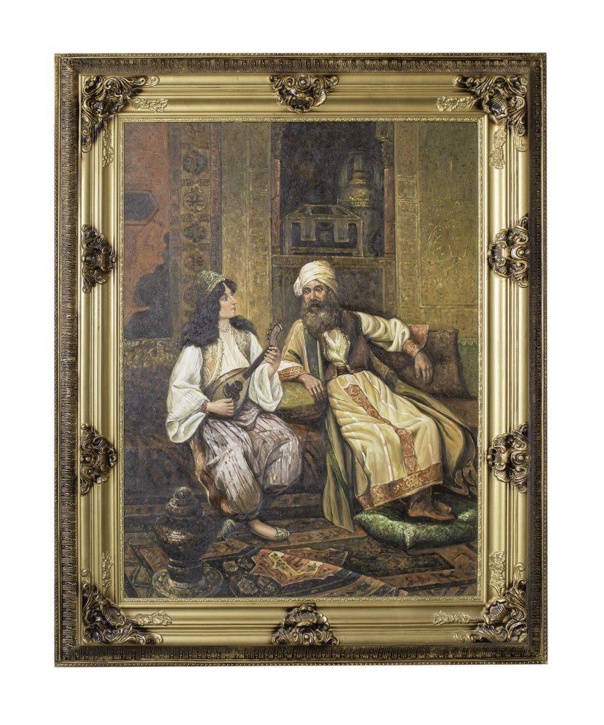 Painting of Ali Pasha and Kyra-Vassiliki playing the mandolin, 19th c.