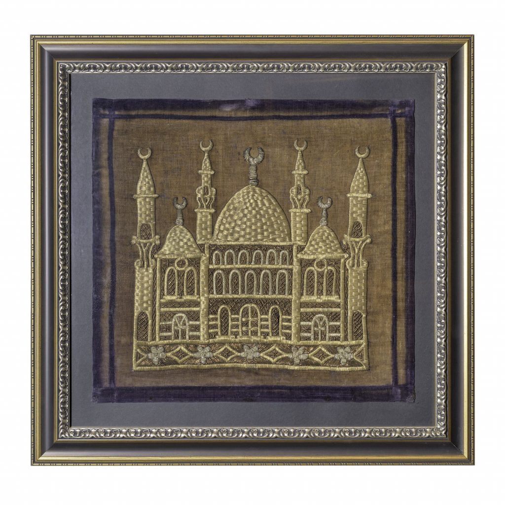 Gold-embroidered pillow case with mosques and minarets, 19th c.