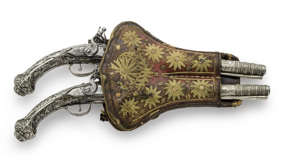 Pair of silver pistols in their case, 19th c.